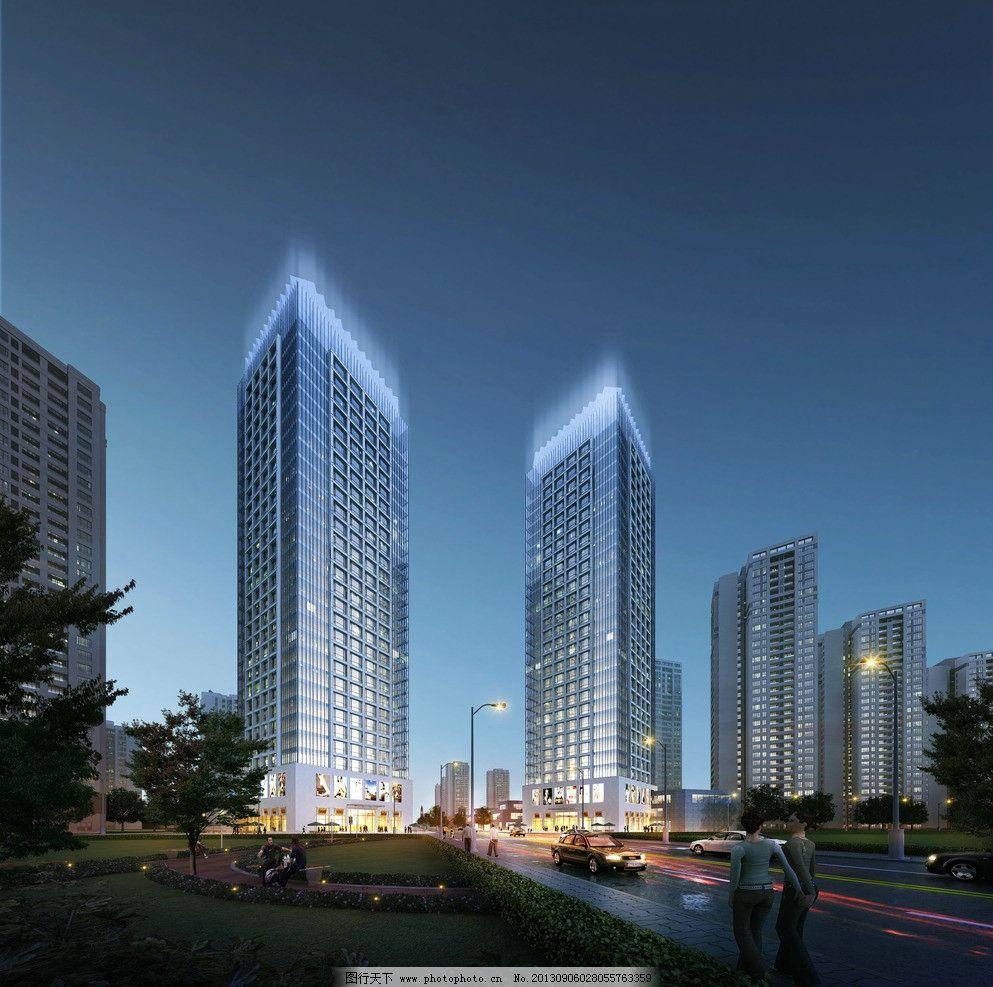 酒店公寓 周熙鵾建筑设计 酒店公寓效果图 建筑表现 建筑夜景效果图