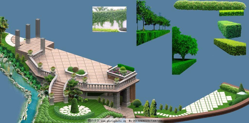 别墅花园效果图 欧式 植物