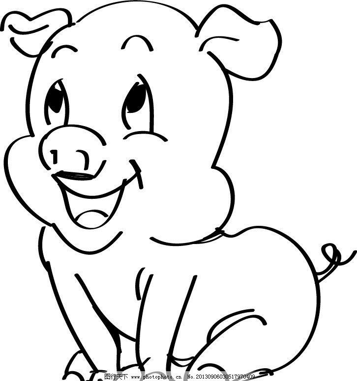 卡通猪 猪 小猪 可爱猪 线条猪 卡通设计 广告设计 矢量 ai
