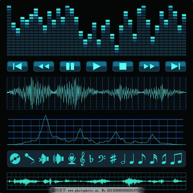 音乐播放器常用矢量素材