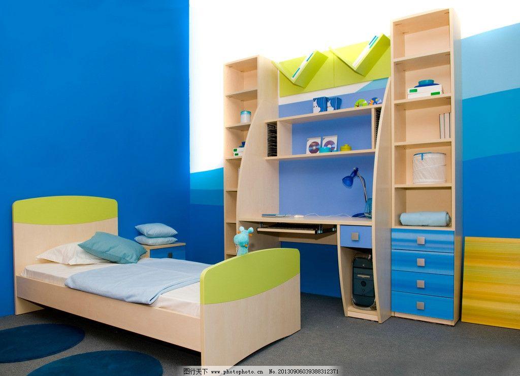 儿童房 卧室 床 橱柜 蓝色 家装 装修 居室 室内摄影 建筑园林