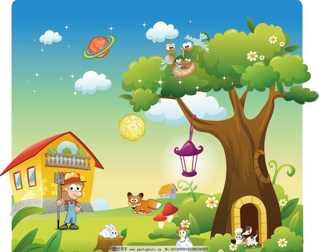 卡通背景 森林背景 卡痛背景 卡通人物 卡通动物 动物矢量 绿色背景图片