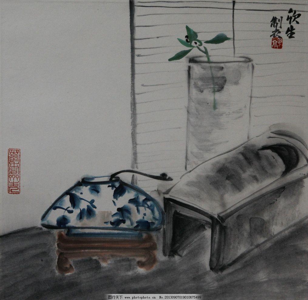 水墨淡彩 清花瓷 水墨 装饰画 青花瓷 花瓶 写意淡彩 绘画书法 文化艺