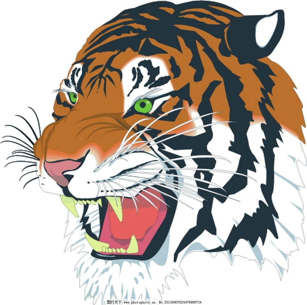 老虎矢量图 威猛 张嘴 头像 动物 霸王