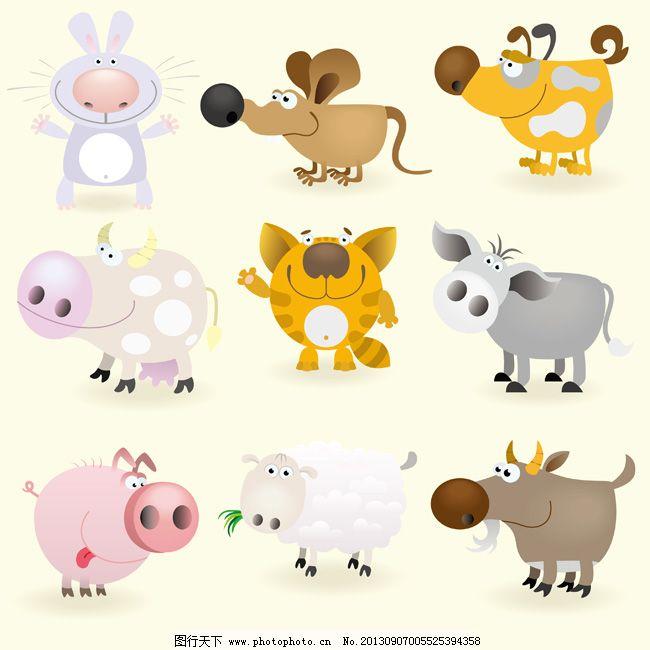 12生肖卡通矢量素材01 插画 动物 虎 卡通素材 牛鼠兔