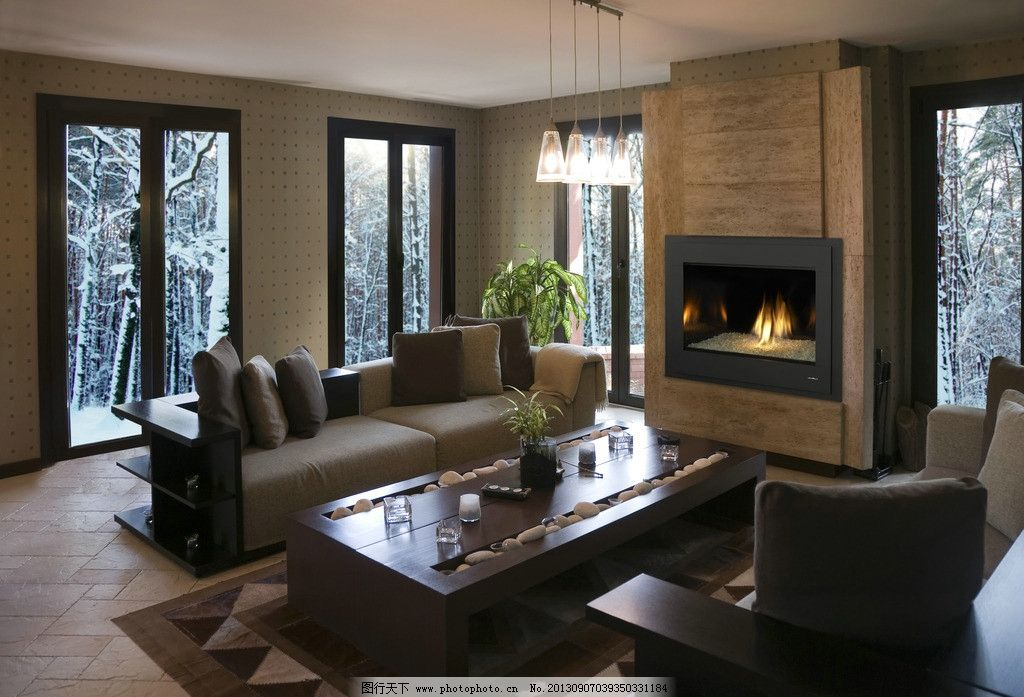 客厅 室内 装修 壁炉 欧式 茶几 别墅 装饰 装潢 家具 家居
