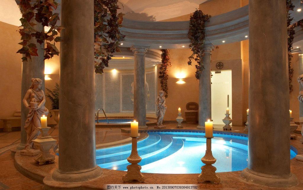 酒店 效果图 水池 游泳池 柱子 欧式 华丽 贵族 尊贵 室内摄影