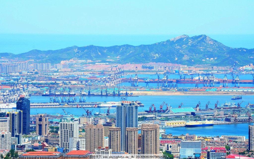 城市风光 城市建筑 海港全貌 海港设施 大海 海岛 蓝天 建筑摄影 建筑图片