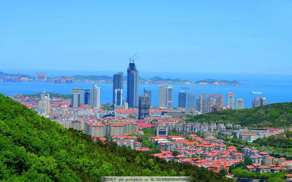 城市风光 山坡 树木 高楼 红顶矮楼 大海 海岛 蓝天 建筑摄影 建筑图片