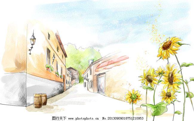 手绘清新 乡间小路 向日葵 向日葵 乡间小路 手绘清新 图片素材 卡通