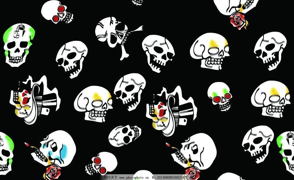 骷髅设计图案 玫瑰骷髅 骷髅纹理 平面骷髅 骷髅设计 psd分层素材 源