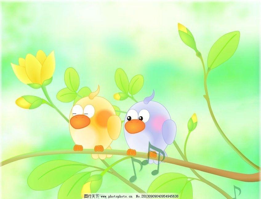春天柳树小鸟图片卡通