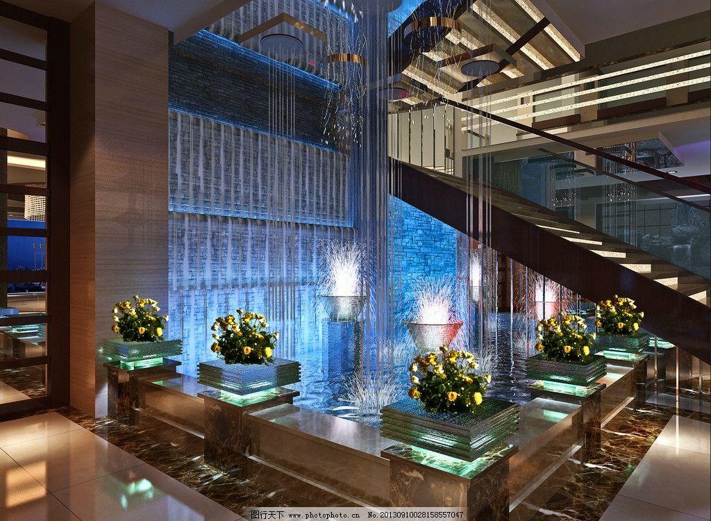 大堂楼梯水景图片