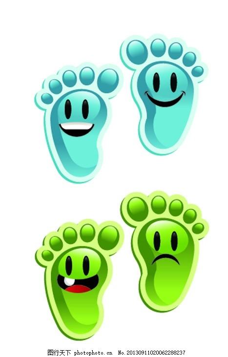 绿色脚丫 蓝色脚丫 卡通脚丫 可爱 温馨提示 微笑 卡通设计 各种脚丫