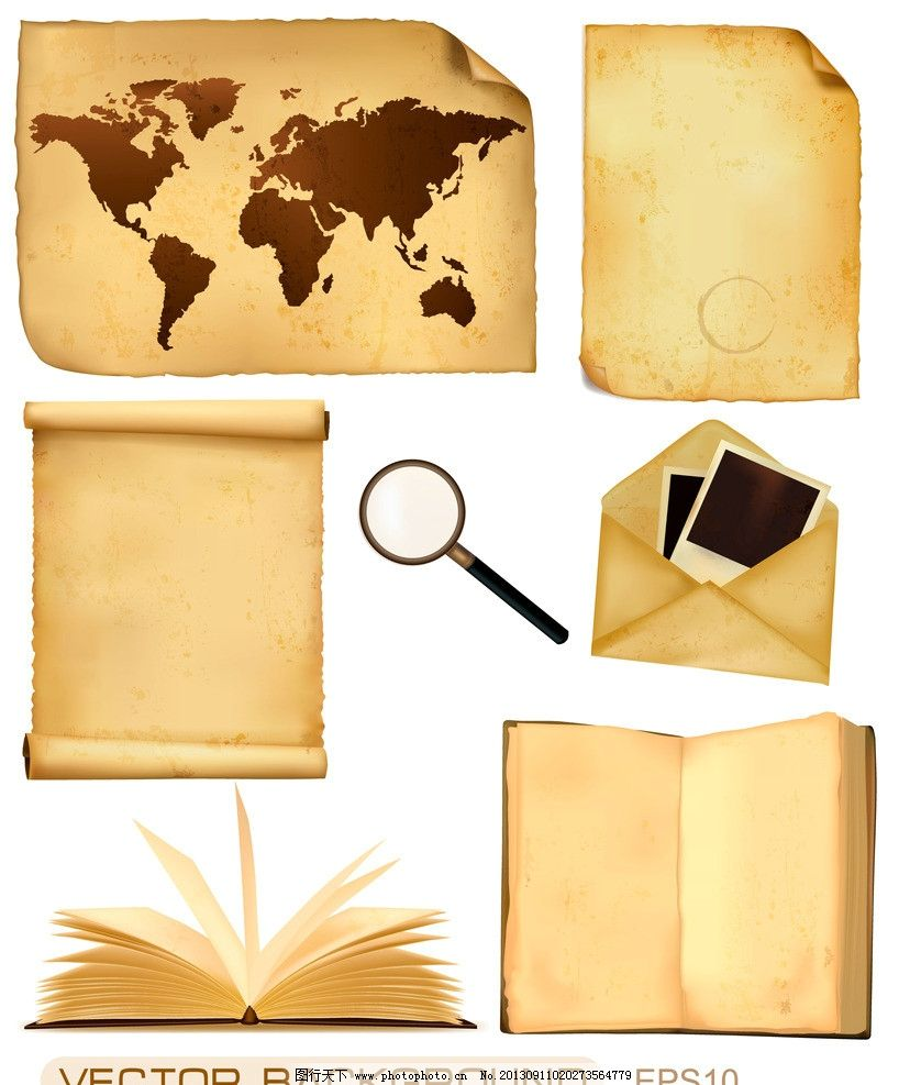 黄色 证书 欧式花纹 信件 怀旧信纸 蜡封 旧纸张高清背景 纸纹 纹理