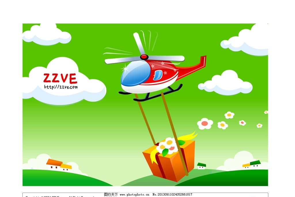 卡通直升机 直升机 飞机