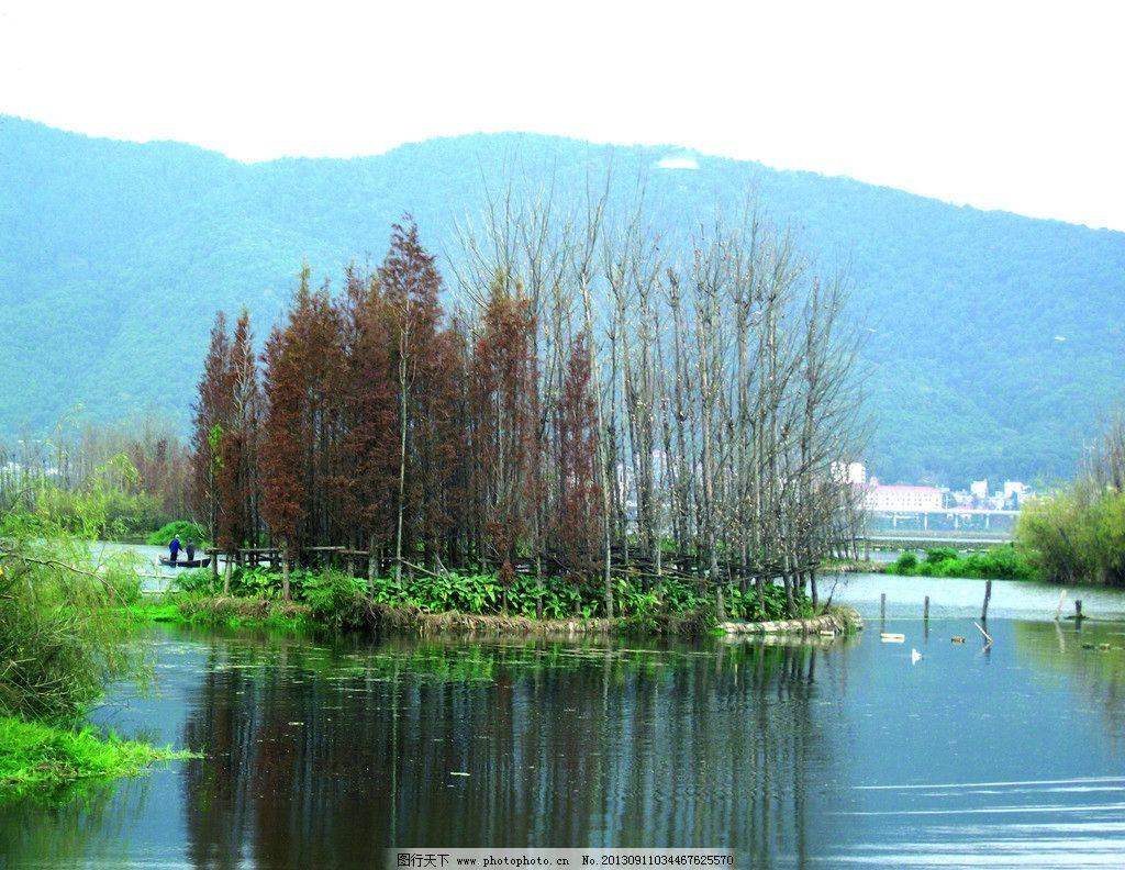 山水风景 湖泊 小岛 倒影 山水相依 绿水环绕 自然景观 摄影 300dpi