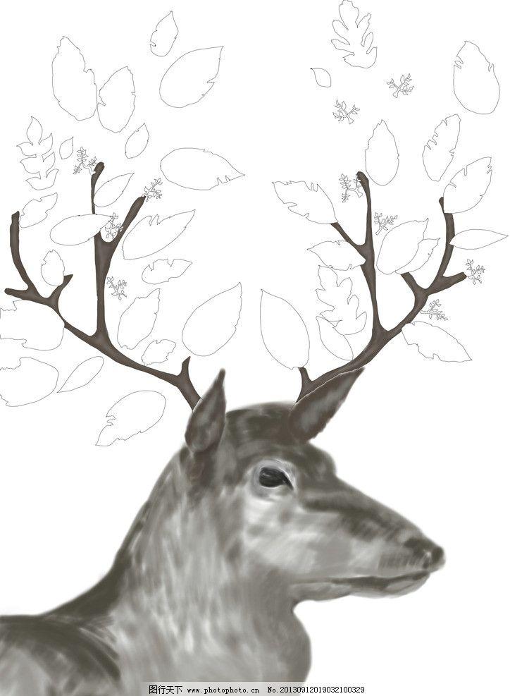 手绘 鹿 梅花鹿 圣诞 线稿 手绘板 插画 绘画书法 文化艺术 设计 300