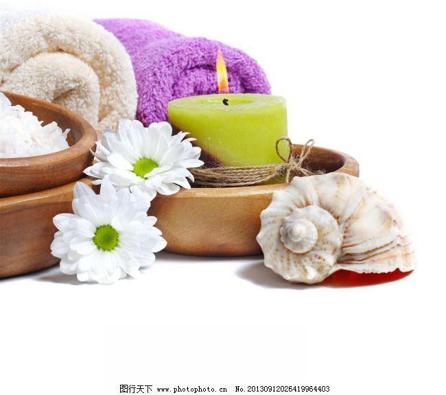 美容spa 海螺 菊花 蜡烛 毛巾 美容馆 图片素材 风景生活旅游餐饮