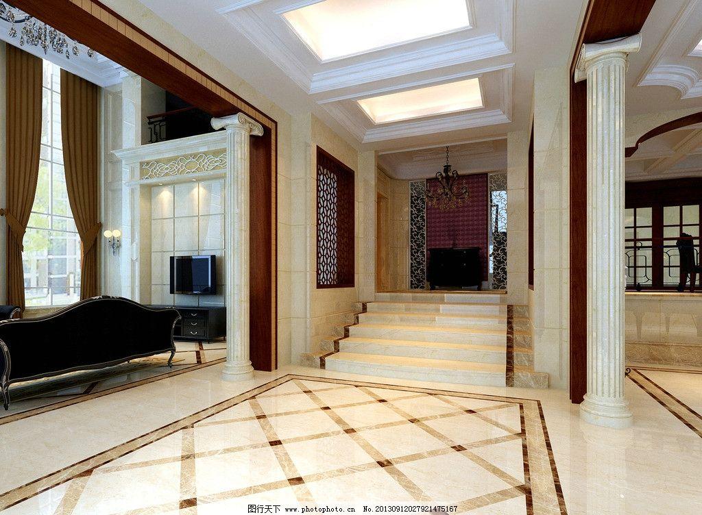 室内效果图 抛光砖        走廊 过道 窗户 300dpi     室内设计 环境