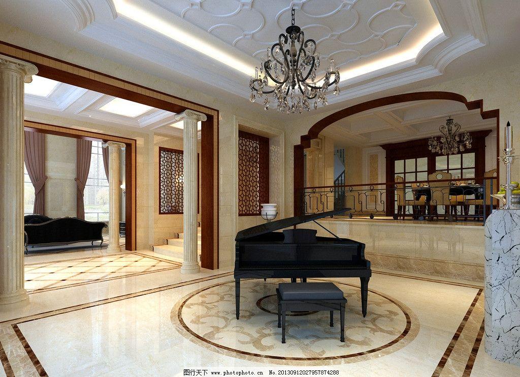 过道 过道效果图 走廊 走廊效果图 欧式吊灯 钢琴 饭厅 简欧