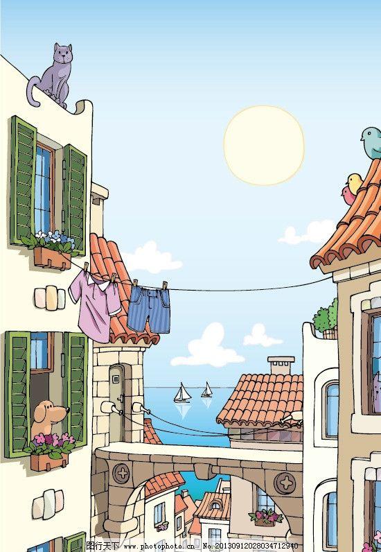 海边城市景观 卡通 卡通城市 卡通景观 手绘房子 手绘海边 卡通矢量