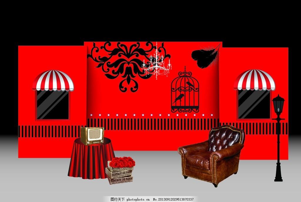 展示区 婚礼 红黑 签到桌 鸟笼 路灯 广告设计 矢量 ai