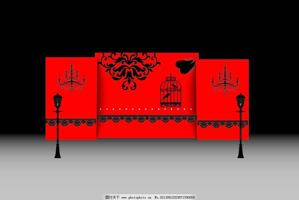展示区 婚礼 红色 黑色 路灯 矢量