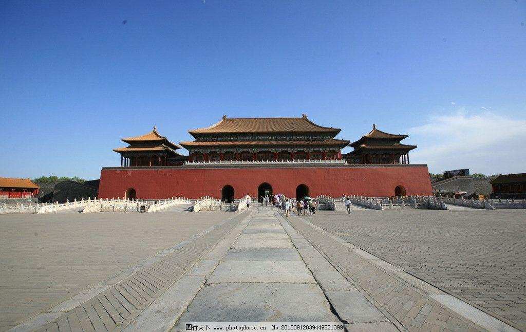 故宫 后门 售票处 红墙 琉璃瓦 古建筑 屋檐 全景 城门 黄瓦 广角图片
