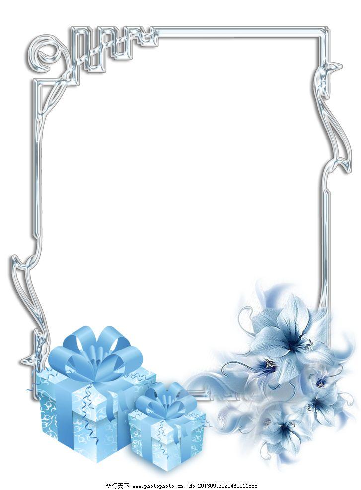花样相框 png 免抠图 框架 花 彩带 礼盒 边框相框 底纹边框 设计 118