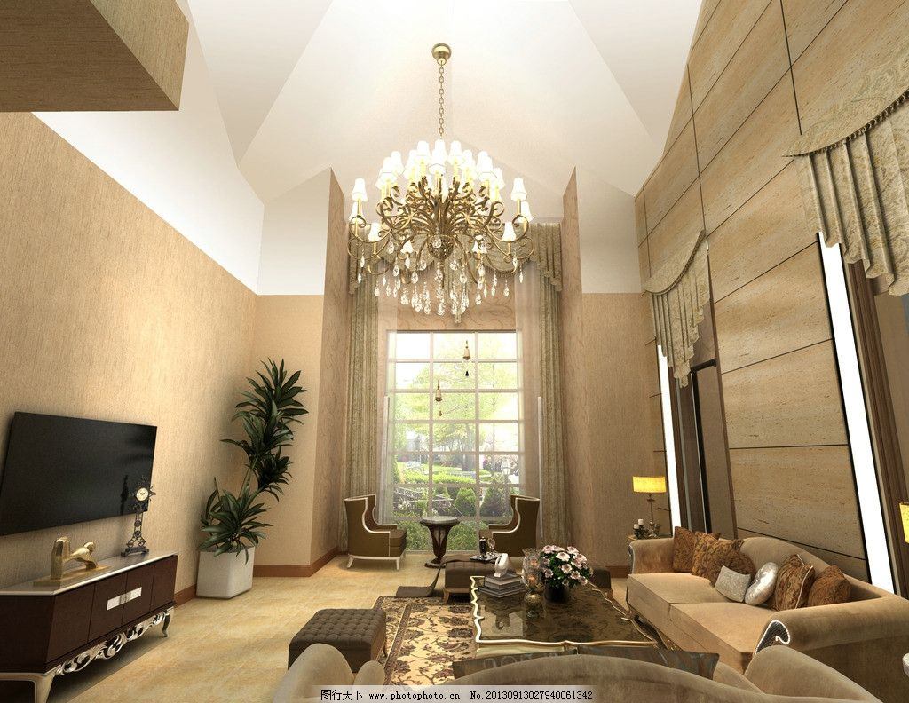 别墅客厅 现代欧式风格      浅咖色 沙发 吊灯 室内设计 环境设计