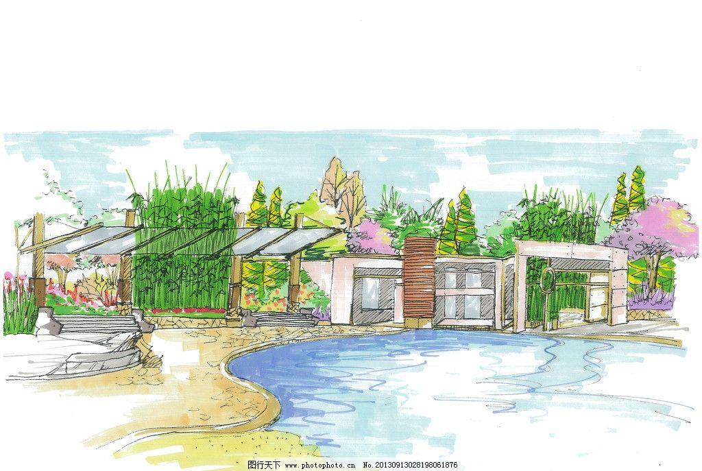 景观手绘效果图 景观 园林 手绘        马克笔 水景 景观设计 环境