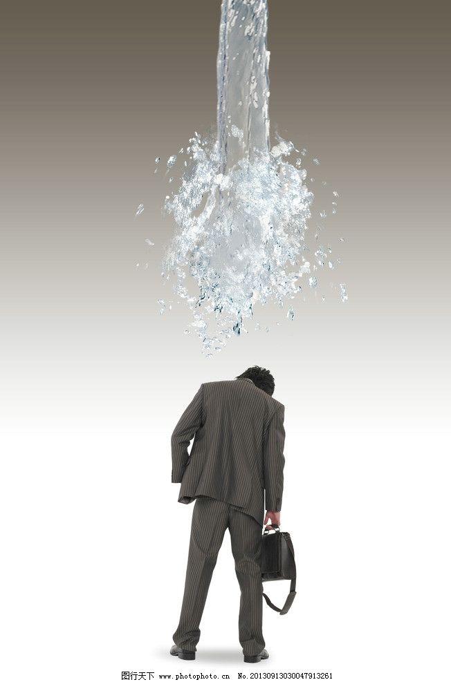 商务素材 沮丧 背影 一头冷水 低头 业务员 海报设计 广告设计模板 源图片