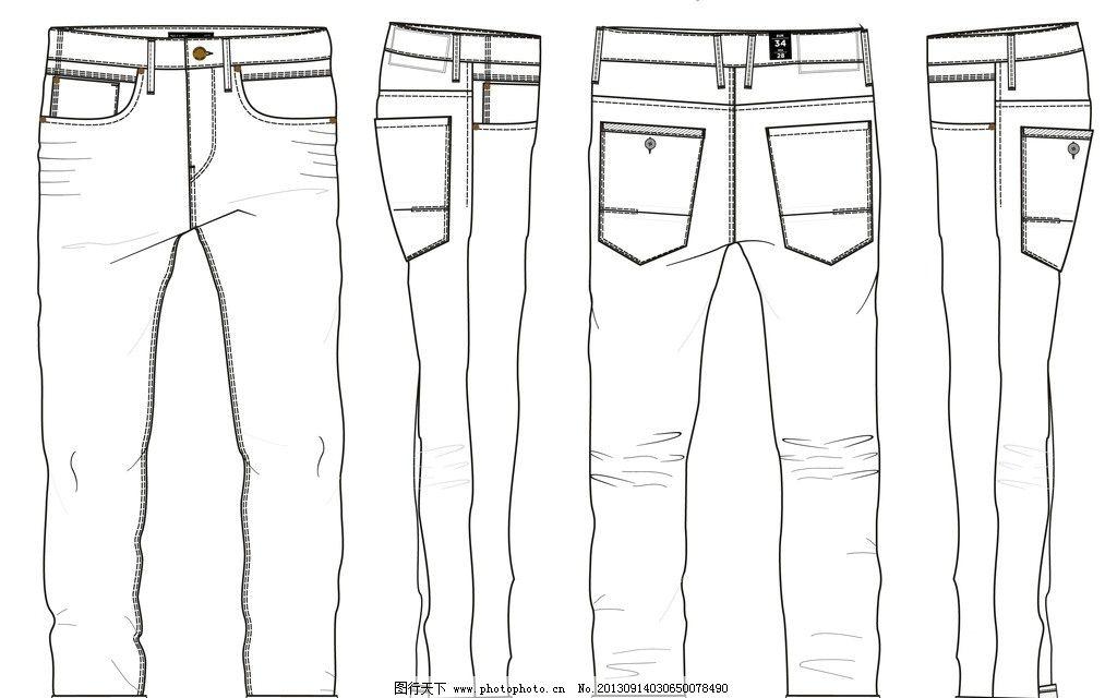 牛仔裤 线条图 正面 背面 侧面 裤子设计图纸 服装设计 广告设计 矢量