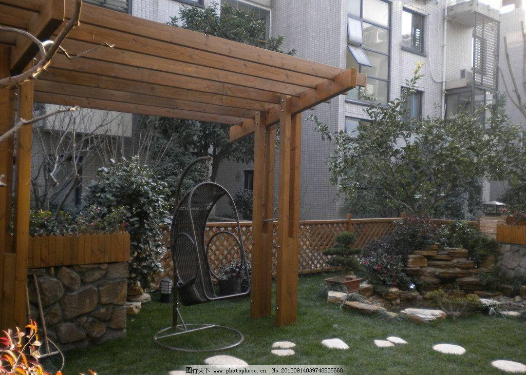 别墅花园花架 别墅花园 花架 防腐木花架 庭院花园设计 水池 其他
