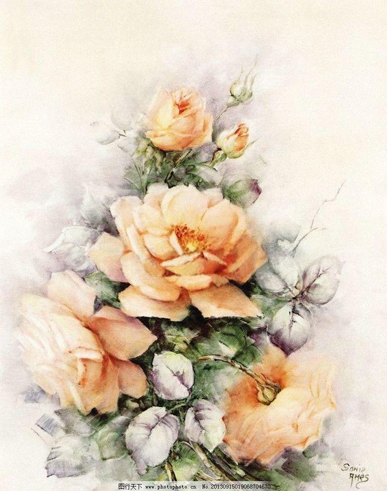 手绘花朵 黄色玫瑰花 月季花 花卉 花朵 静物花卉 绘画花朵 国外绘画
