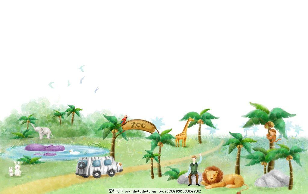 动物园 卡通 猴子 漫画