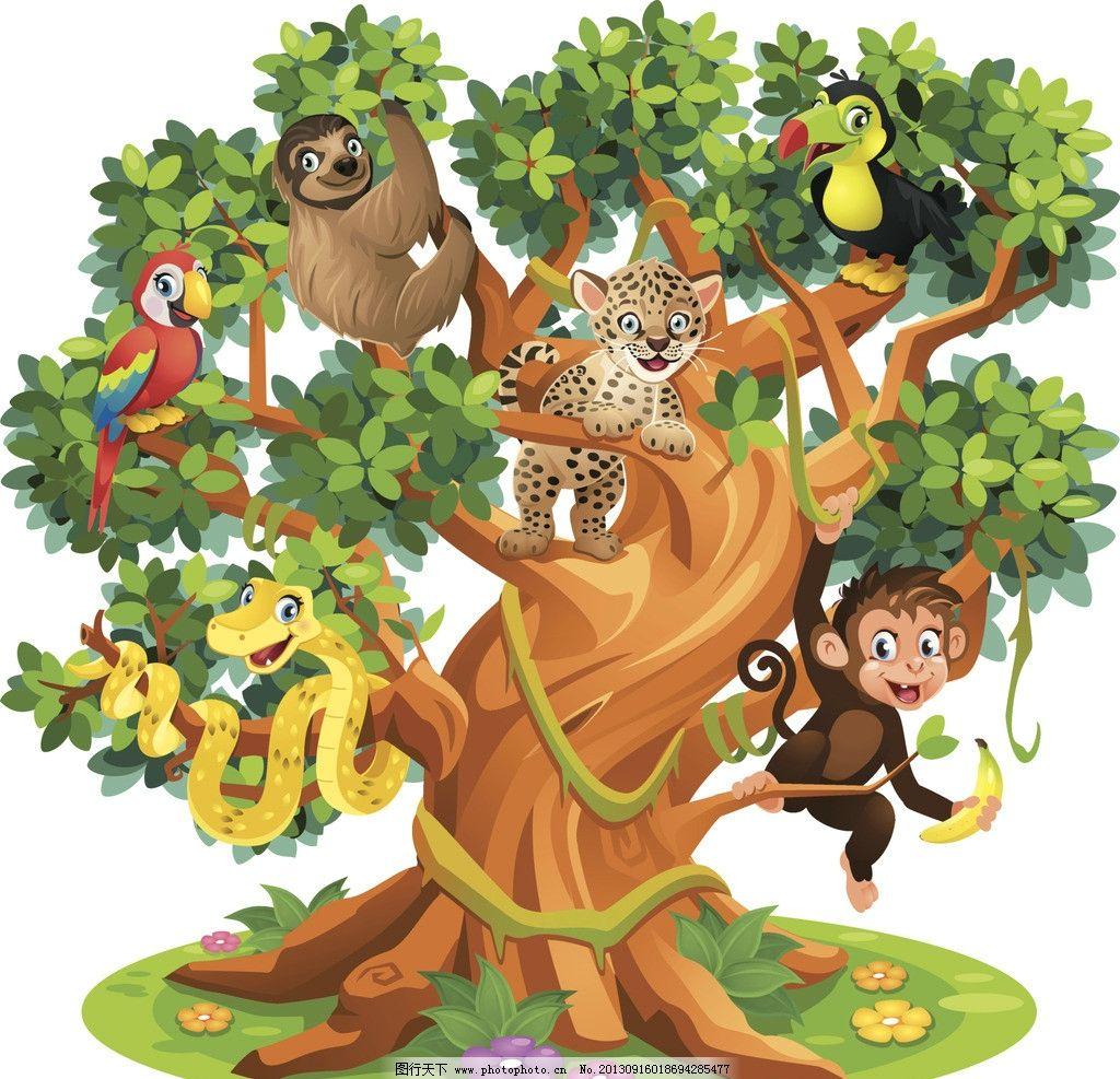 卡通动物 卡通 漫画 插画 动物 猴子 草原 大树 小鸟 其他 动漫动画