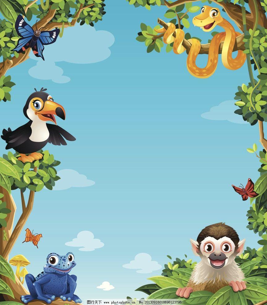 卡通动物 卡通 漫画 插画 动物 猴子 鸟类 小鸟 雨林 热带 其他 动漫