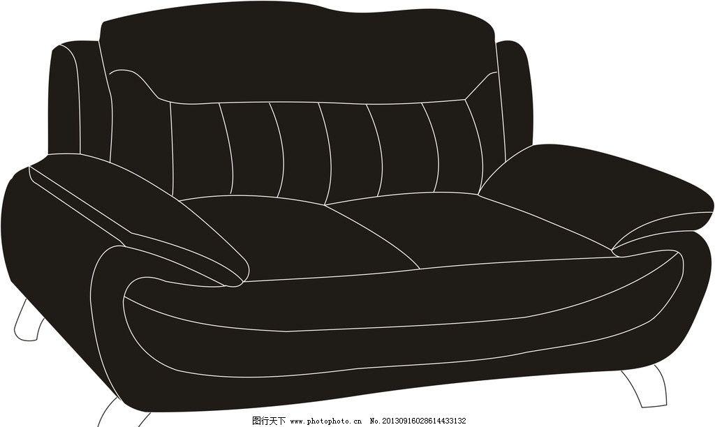沙发 建筑 家居 家具 黑色 沙发轮廓 沙发结构图 家居家具 建筑家居