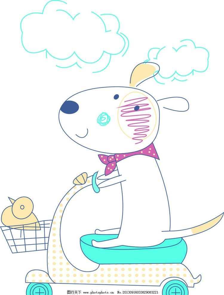 骑车 小车 儿童花型 矢量素材 矢量图 儿童矢量图 卡通动物 小动物