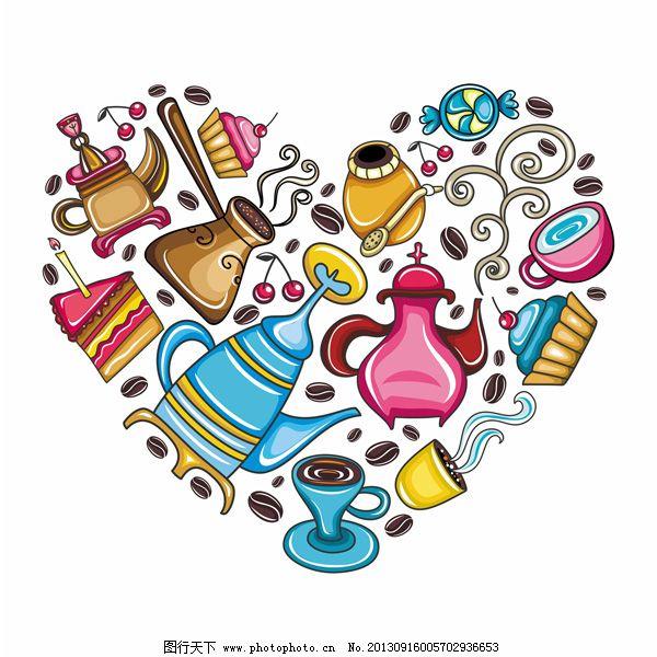 心形手绘彩色甜点下午茶