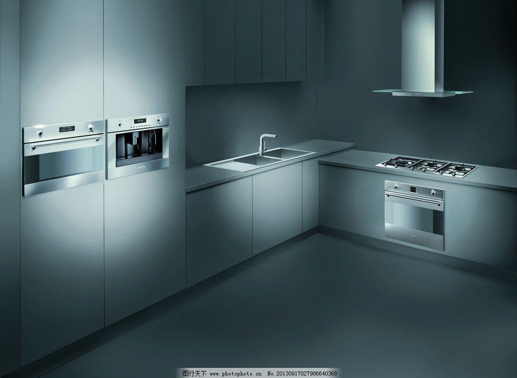 厨房效果图 灰色      电器 灶 烤箱 水龙头 烟机 橱柜 室内设计 环境