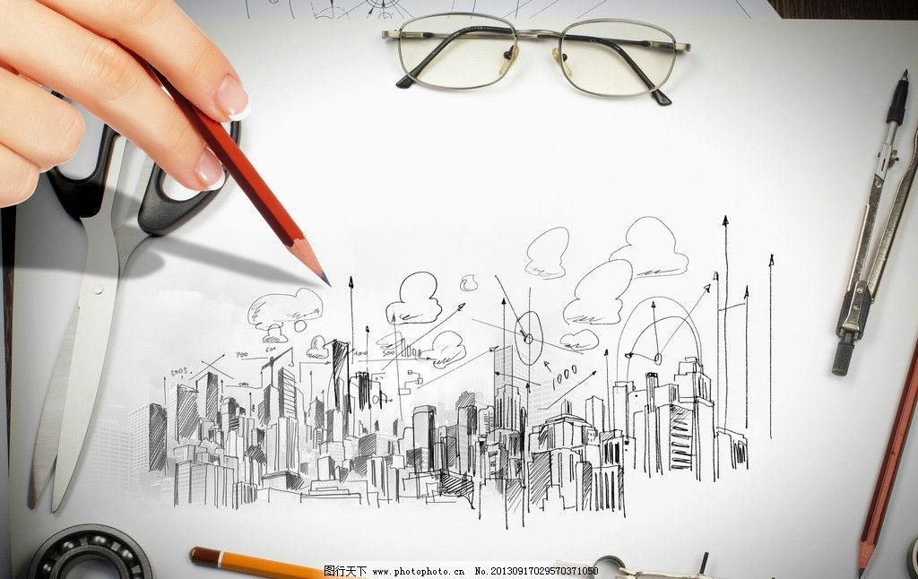 未来畅想 广告 手绘 描绘 手绘画 素描 眼睛 中国梦 质感 画笔