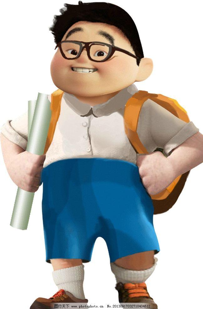 校讯通 初中生 小胖 手绘 卡通 人物 小男孩 眼睛 书包 psd分层素材