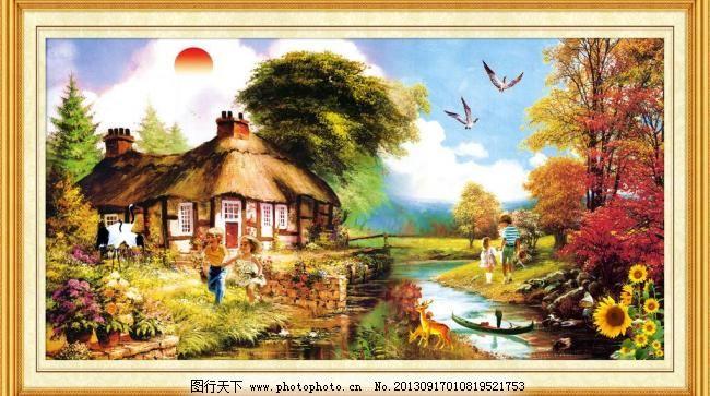 油画风景 奔跑 壁画 边框 大厅画 房子 飞鸟 风景画 油画风景素材下载
