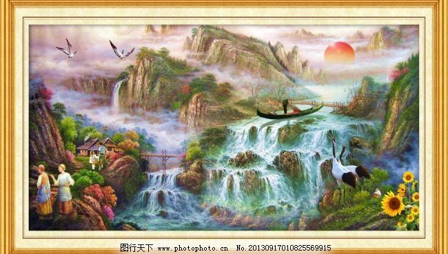 油画风景 边框 大厅画 钓鱼 飞鸟 风景壁画 风景画 风景油画