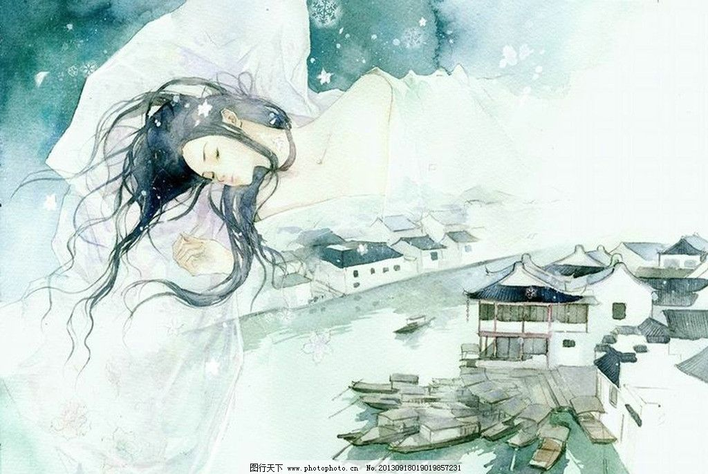 手绘美女 山水 美女 手绘 水彩 水粉 古建筑 房子 人体艺术 古典 中国