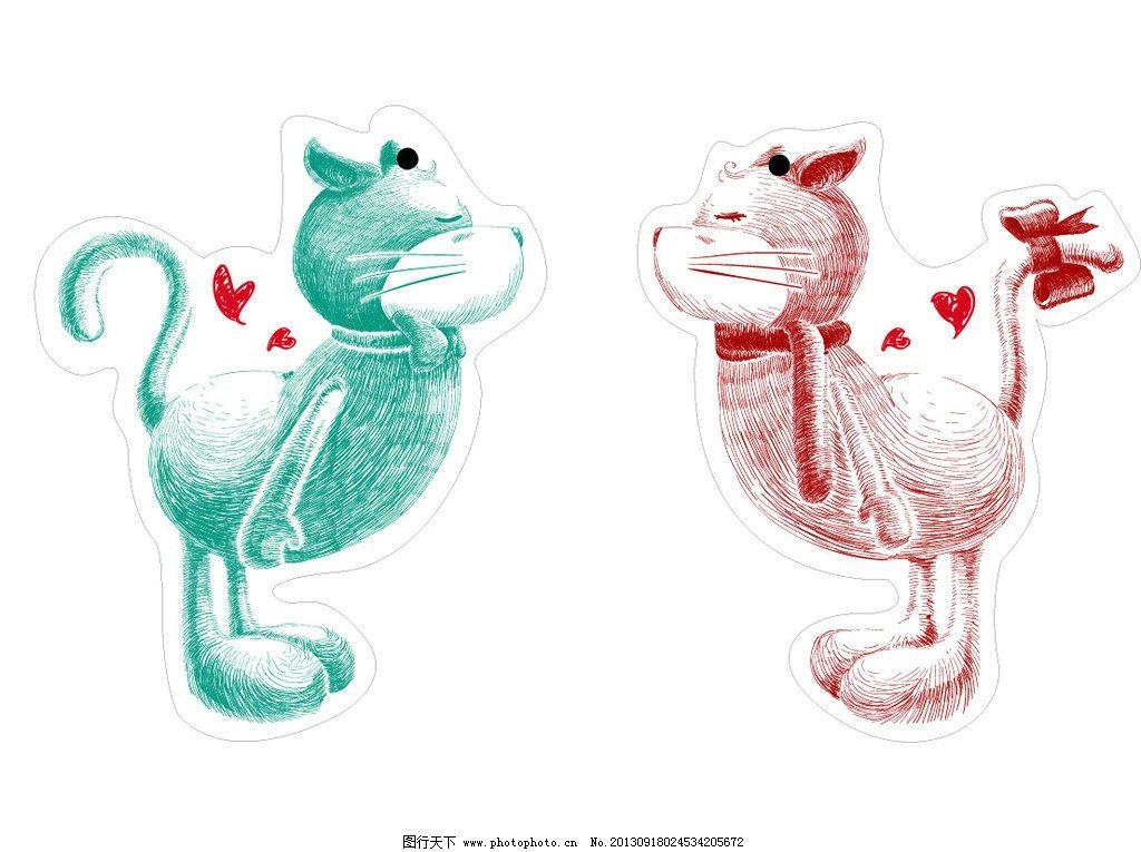 情侣猫咪 猫咪 公的 母的 情侣 绿色 红色 一对 亲嘴 亲吻 爱心 调皮 可爱 卡通 家禽家畜 生物世界 矢量 AI