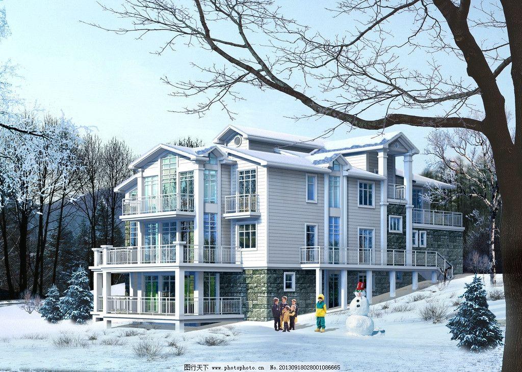 别墅雪景效果图 别墅 冬季 雪景 现代别墅 三层别墅 雪人 雪景植物